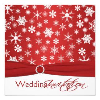 PRINTED RIBBON Red White Snowflakes Wedding Invite