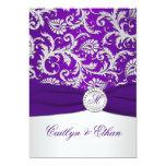 """PRINTED RIBBON Royal Purple and Silver Damask 5"""" X 7"""" Invitation Card"""