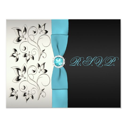 PRINTED RIBBON Silver Aqua Black Floral Reply Card