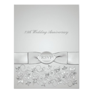 PRINTED RIBBON Silver Gray Floral RSVP Card Personalized Announcements