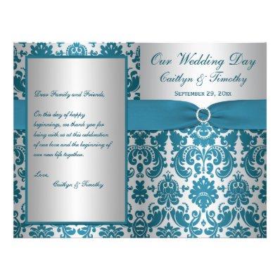 PRINTED RIBBON Silver, Teal Damask Wedding Program