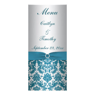 PRINTED RIBBON Silver, Teal Wedding Menu Card