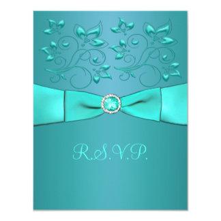 PRINTED RIBBON Teal, Aqua Floral II Reply Card