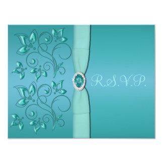 PRINTED RIBBON Teal, Aqua Floral RSVP Card