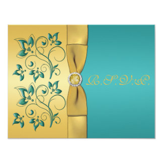 PRINTED RIBBON Teal, Gold Floral Reply Card
