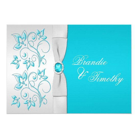 PRINTED RIBBON Turquoise Silver Floral Wedding Card