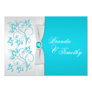 PRINTED RIBBON Turquoise, Silver Floral Wedding 5x7 Paper Invitation Card