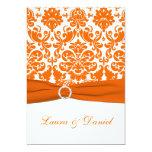 "PRINTED RIBBON White, Orange Damask Wedding Invite 5"" X 7"" Invitation Card"