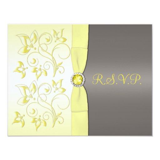PRINTED RIBBON Yellow, Gray Floral RSVP Card
