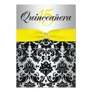 PRINTED RIBBON Yellow Silver Black Quinceanera Card