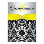 PRINTED RIBBON Yellow Silver Black Quinceanera 5x7 Paper Invitation Card