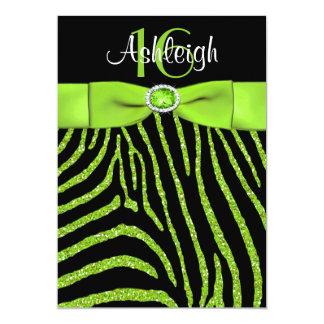 PRINTED RIBBON Zebra 16th Birthday Invitation