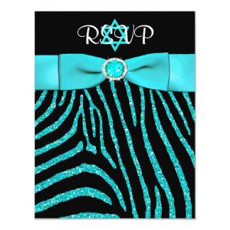 PRINTED RIBBON Zebra, Blue FAUX Glitter RSVP Card