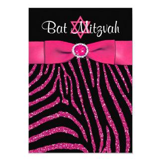 PRINTED RIBBON Zebra Glitter Bat Mitzvah Invite
