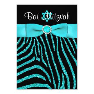 PRINTED RIBBON Zebra Glitter Bat Mitzvah Invite 3