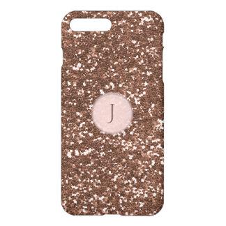 Printed Rose Gold Sparkly Glitter Monogram iPhone 7 Plus Case
