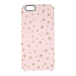Printed Rose Gold Stars {choose background color} Clear iPhone 6/6S Case