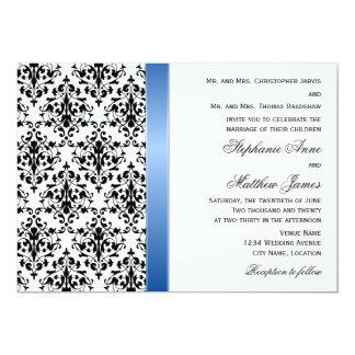 Printed Royal Blue Ribbon and Damask Wedding 5x7 Paper Invitation Card