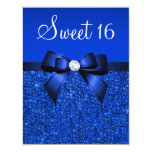 Printed Royal Blue Sequins, Bow & Diamond Sweet 16 4.25x5.5 Paper Invitation Card