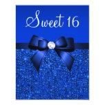 Printed Royal Blue Sequins, Bow & Diamond Sweet 16 Card