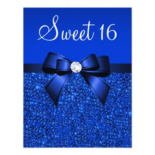 Printed Royal Blue Sequins, Bow & Diamond Sweet 16 Personalized Invitations