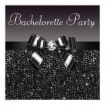 "Printed Sequins, Bow & Diamond Bachelorette Party 5.25"" Square Invitation Card"