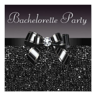 Printed Sequins, Bow & Diamond Bachelorette Party 5.25x5.25 Square Paper Invitation Card