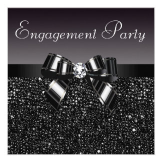 Printed Sequins Bow Diamond Engagement Party Personalized Invites