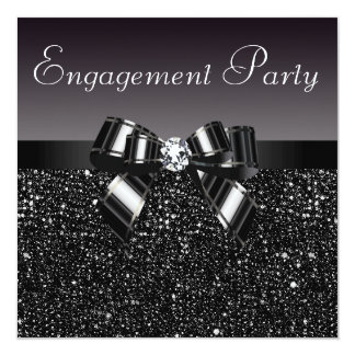 Printed Sequins, Bow & Diamond Engagement Party Invitation