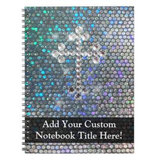 Printed Silver Bling Cross Notebook