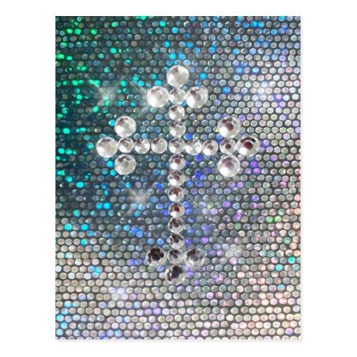 Printed Silver Bling Cross Post Card
