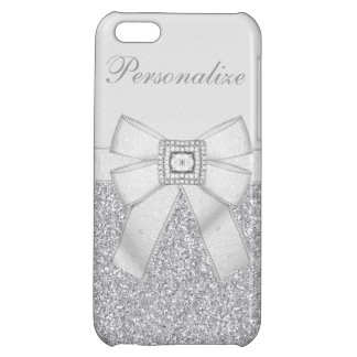 Printed Silver Glitter, Diamond Bling & Bow iPhone 5C Cover