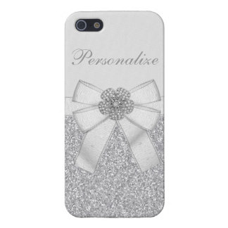 Printed Silver Glitter & Diamond Flower Cases For iPhone 5
