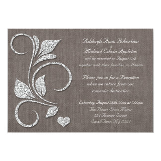 Printed Silver Glitter Rustic Reception ONLY Invitations