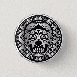 Printed silver metallic effect sugar skull on dams button