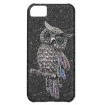 Printed Silver Owl & Jewels Black Glitter iPhone 5C Cover