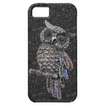 Printed Silver Owl & Jewels Black Glitter iPhone SE/5/5s Case