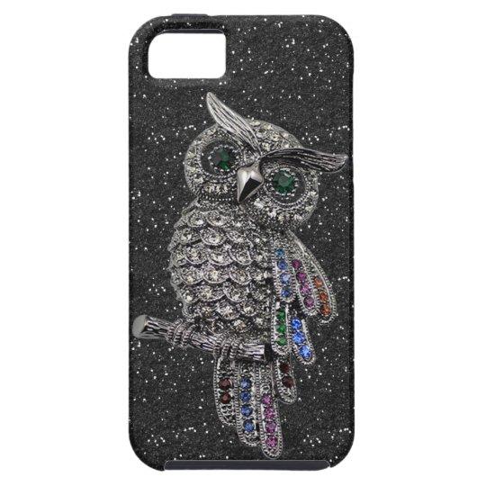 Printed Silver Owl & Jewels Black Glitter iPhone SE/5/5s Case