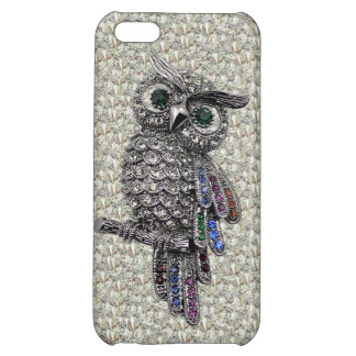 Printed Silver Owl & Jewels on Diamonds Case For iPhone 5C