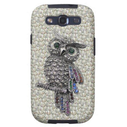 Printed Silver Owl & Jewels on Diamonds Print Samsung Galaxy S3 Case