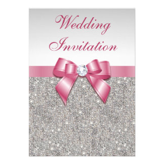 Printed Silver Sequins and Bow Pink Wedding Cards