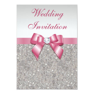 Printed Silver Sequins and Bow Pink Wedding 5x7 Paper Invitation Card