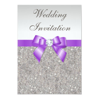 Printed Silver Sequins and Lavender Bow Wedding 5x7 Paper Invitation Card