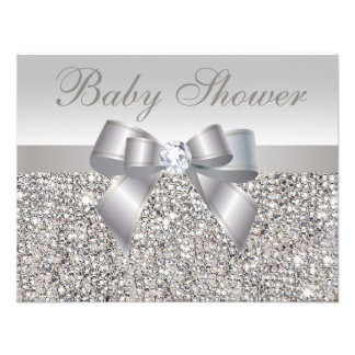 Printed Silver Sequins Bow Diamond Baby Shower Custom Announcements