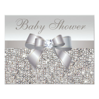Printed Silver Sequins, Bow & Diamond Baby Shower Custom Announcements