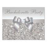 "Printed Silver Sequins, Bow & Diamond Bachelorette 4.25"" X 5.5"" Invitation Card"