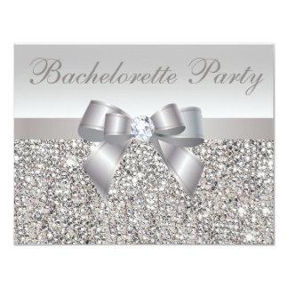 Printed Silver Sequins, Bow & Diamond Bachelorette 4.25x5.5 Paper Invitation Card