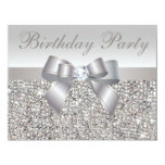 Printed Silver Sequins, Bow & Diamond Birthday Personalized Announcement