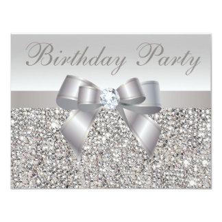 Printed Silver Sequins, Bow & Diamond Birthday 4.25x5.5 Paper Invitation Card