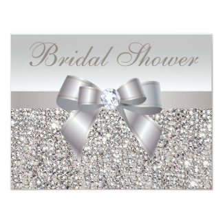 Printed Silver Sequins Bow & Diamond Bridal Shower 4.25x5.5 Paper Invitation Card